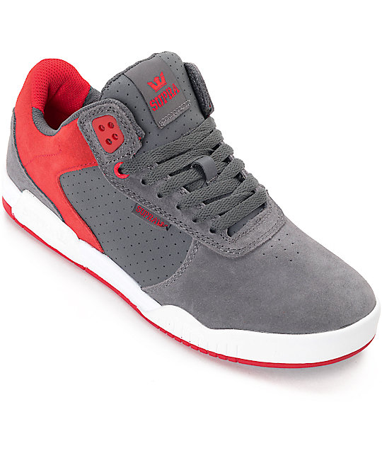 Supra Ellington Grey, Red & White Suede Skate Shoes