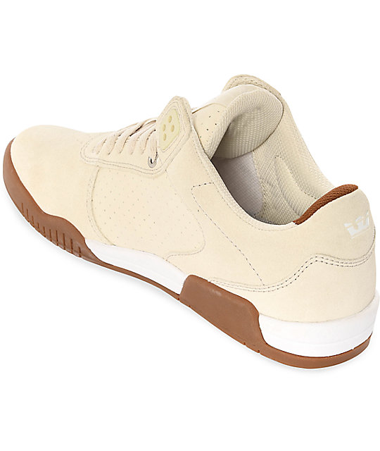 Supra Ellington Off-White & Gum Suede Skate Shoes