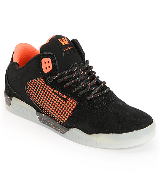 Supra Ellington Pro + Am Black & Neon Orange Skate Shoes