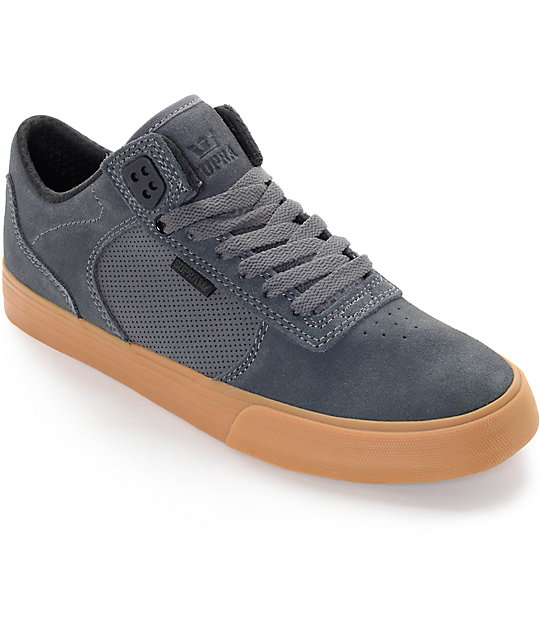Supra Ellington Vulc Grey & Gum Skate Shoes