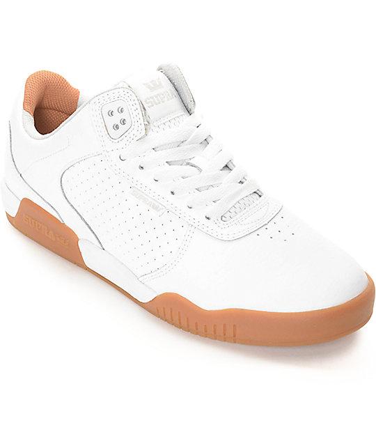 Supra Ellington White Gum Leather Skate Shoes