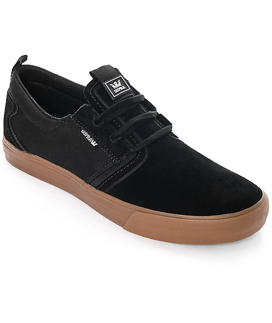 Supra Flow Black & Gum Suede Skate Shoes
