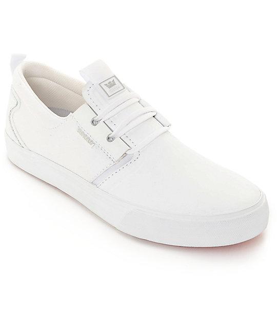 supra flow hamilton white leather skate shoes