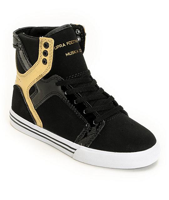 supra skytop black gold shoes