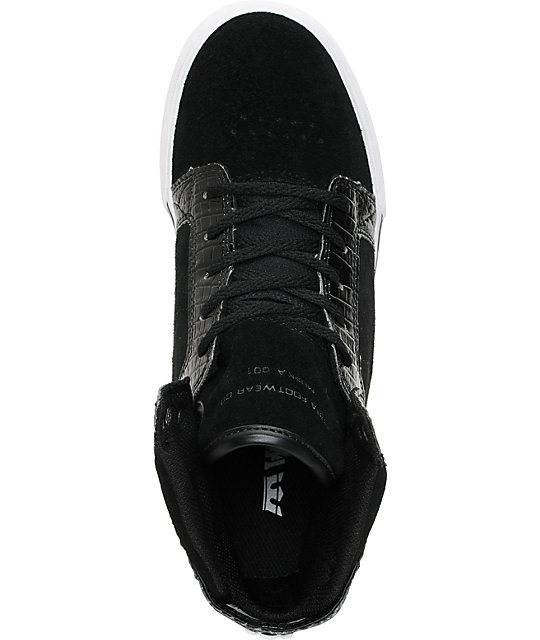 Supra Kids Skytop Black Croc & Suede Skate Shoes