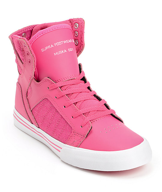 Supra Kids Skytop Pink Leather Skate Shoes
