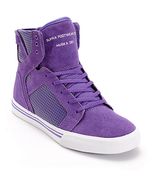 Supra Kids Skytop Purple & White Skate Shoes