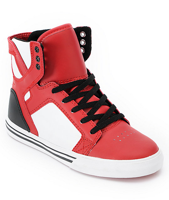 Supra Kids Skytop Red & Black Skate Shoes