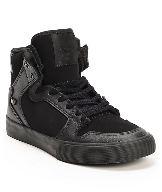 Supra Kids Vaider Black Leather Skate Shoes
