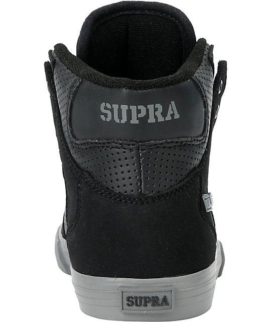 Supra Kids Vaider Black Perforated High Top Skate Shoes