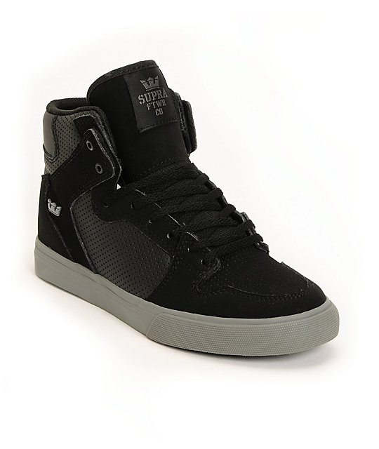 Supra Kids Vaider Black Perforated High Top Skate Shoes