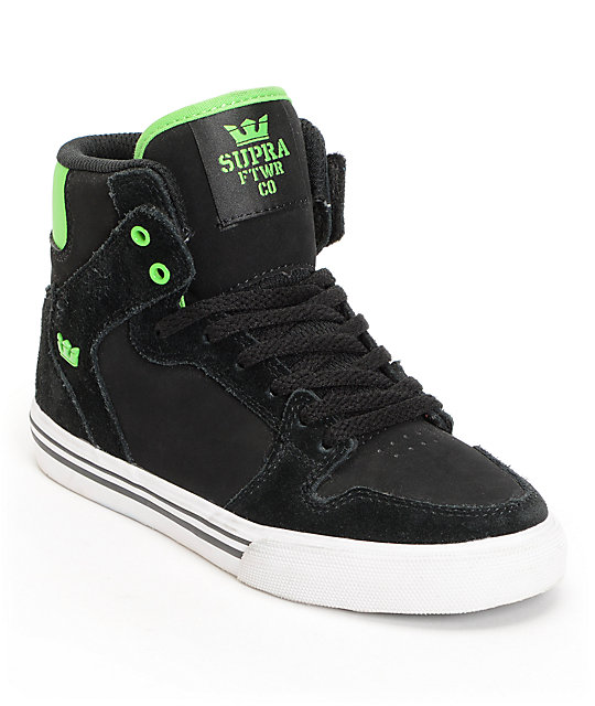 Supra Kids Vaider Black Suede High Top Skate Shoes
