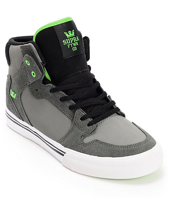 Supra Kids Vaider Grey, Black & Green Shoes