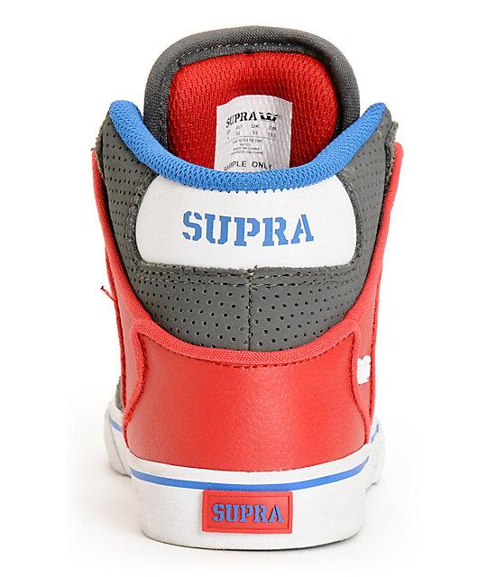 supra kids vaider grey red amp blue high top skate shoes