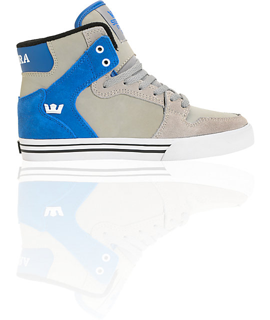 Supra Kids Vaider Grey & Blue High Top Skate Shoes