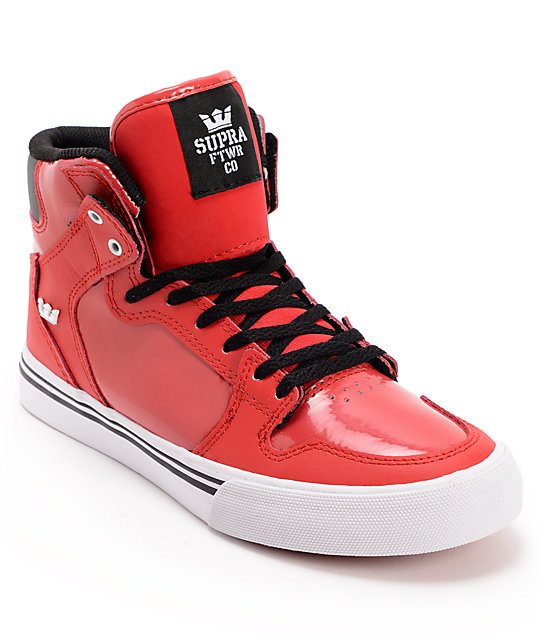 Supra Kids Vaider Red, Black, & White Shoes