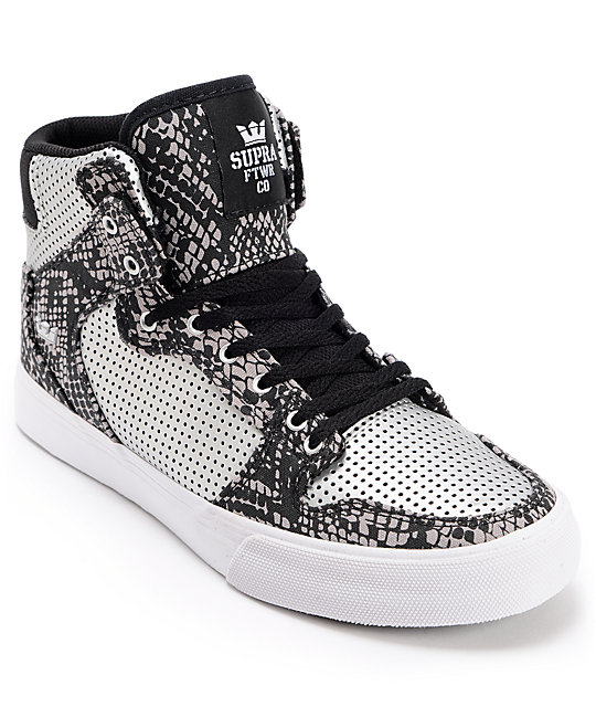 Supra Kids Vaider Silver & Snake Print Perforated Skate Shoes
