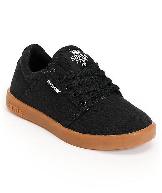 Supra Kids Westway Black & Gum Canvas Skate Shoes at Zumiez : PDP