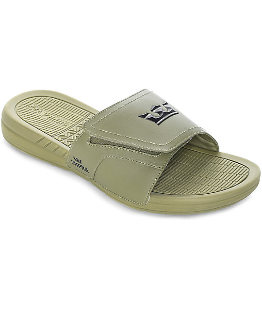 Supra Locker Army Green Leather Sandals