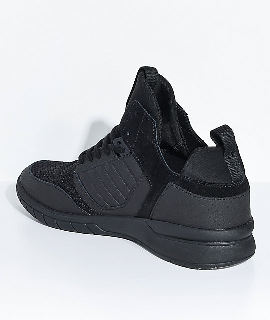 Supra Method All Black Leather & Mesh Shoes