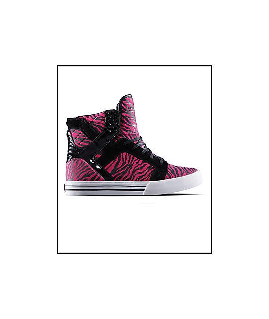Supra Muska Skytop Black & Magenta Zebra Shoes