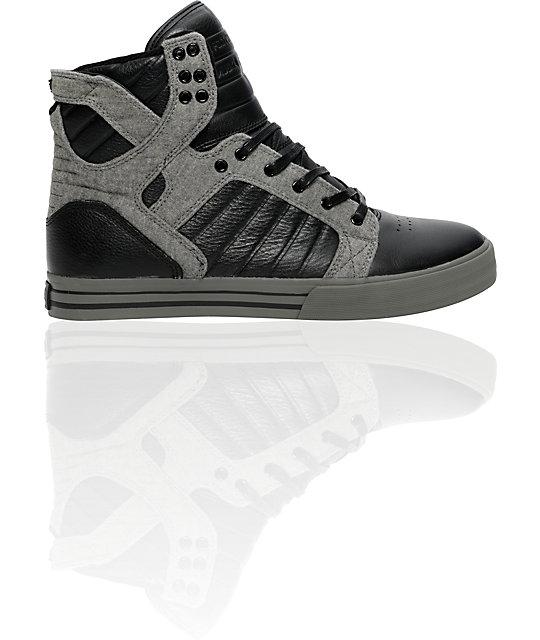 Supra Muska Skytop Black Full Grain & Grey Fleece Shoes