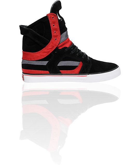 Supra Muska Skytop II Black, Grey & Red Nylon Shoes