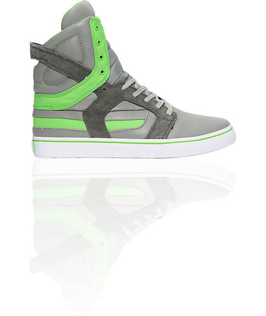 Supra Muska Skytop II Grey & Lime Nylon Shoes