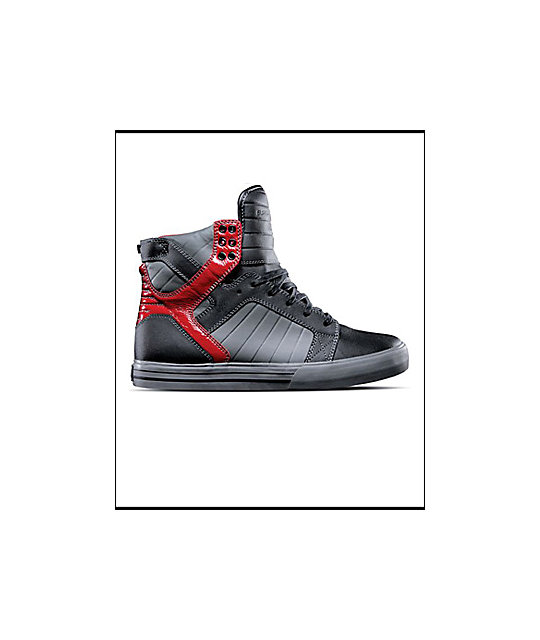 Supra Muska Skytop Tuf Black, Grey & Red Shoes