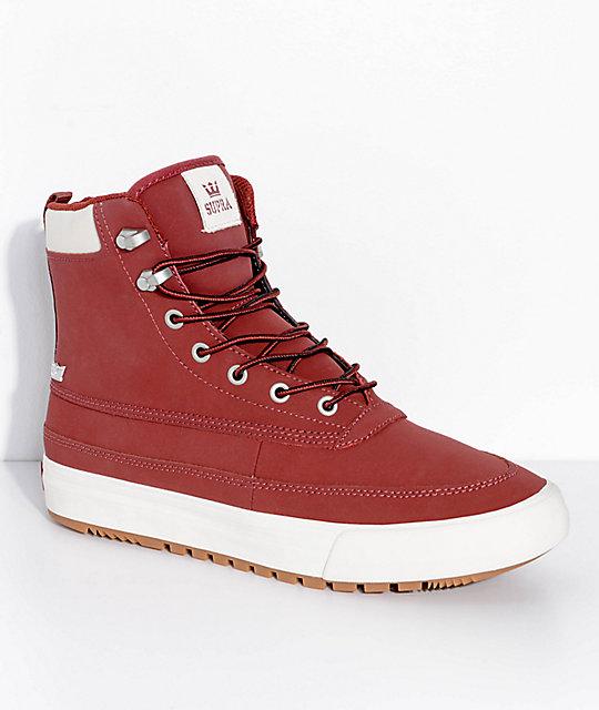Supra Oakwood Brick Red & Bone White Shoes