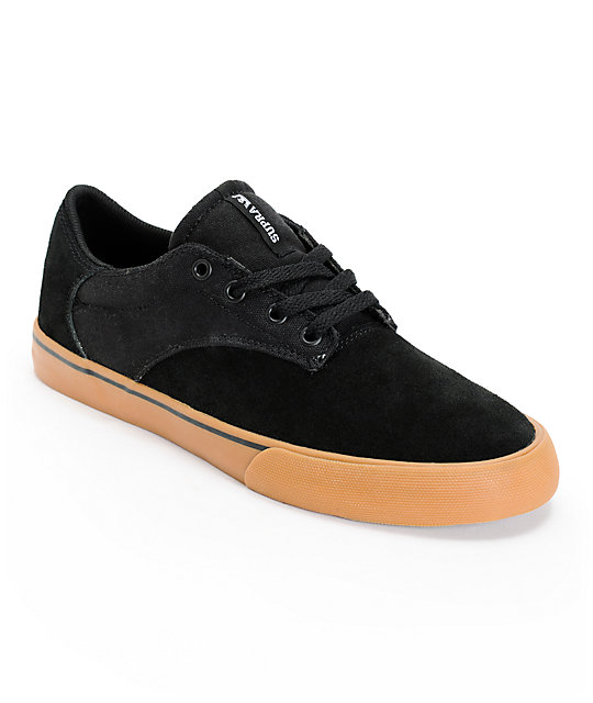 Supra Pistol Black & Gum Suede Skate Shoes