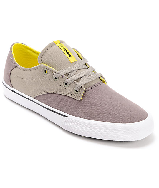 Supra Pistol Charcoal, Grey & Yellow Canvas Shoes