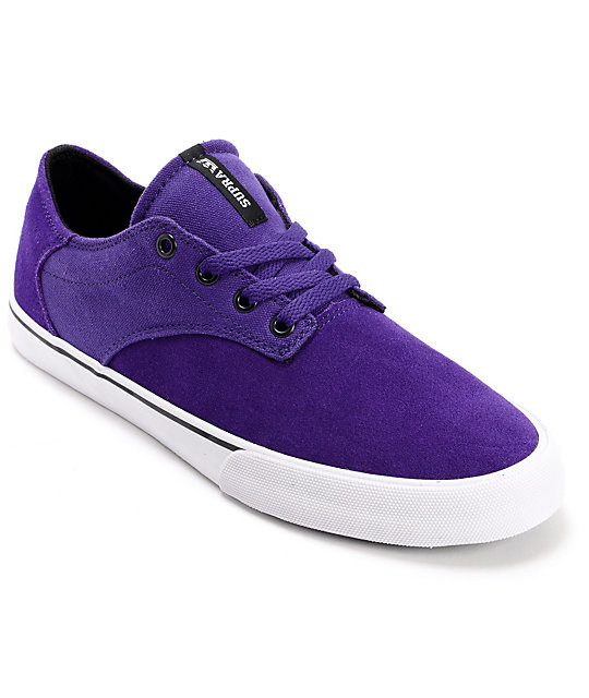 Supra Pistol Purple & White Suede Skate Shoes