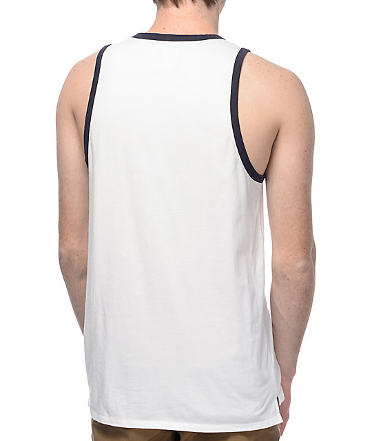 Supra Port White & Navy Diagonal Stripe Tank Top