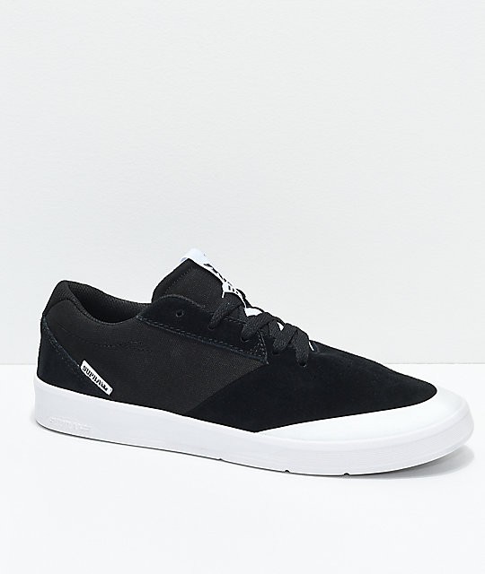 Supra Shifter Black & White Suede Skate Shoes