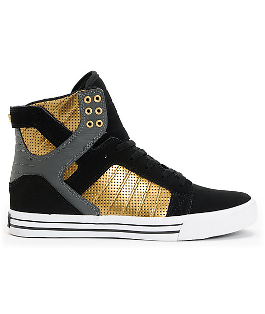 Supra Skytop Black & Gold Skate Shoes