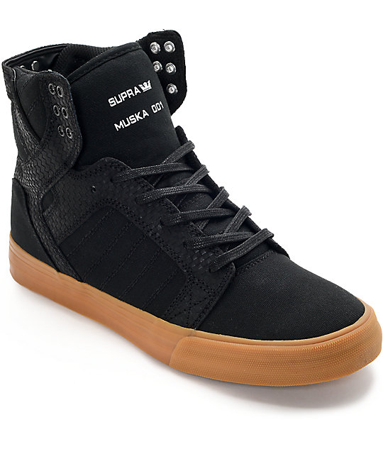 Supra Skytop Black & Gum Skate Shoes