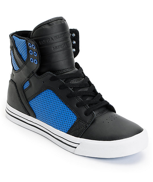 supra skytop black royal blue perforated leather skate