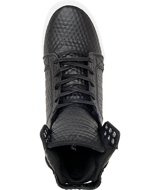 Supra Skytop Black Leather Cubes Skate Shoes