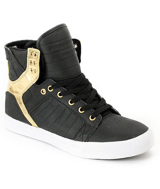 Supra Skytop Black Satin Tuf Amp Gold Foil Skate Shoe At