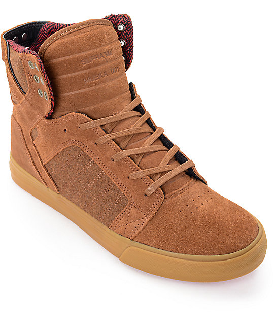 Supra Skytop Brown Leather & Wool Skate Shoes