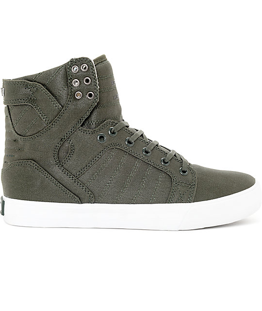 Supra Skytop Dark Olive & White Canvas Skate Shoes