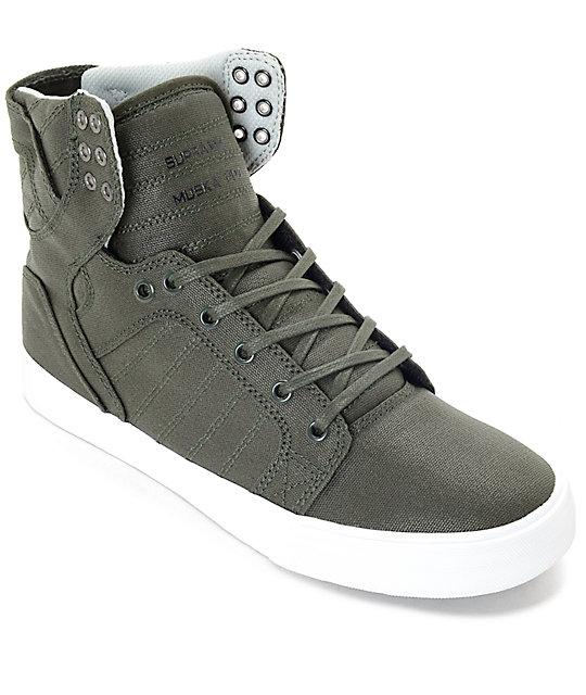 Supra Skytop Dark Olive & White Canvas Skate Shoes