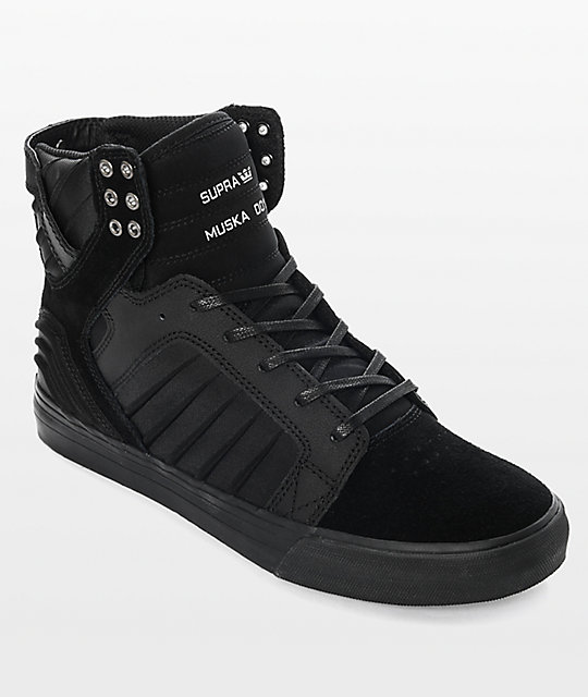 Supra Skytop EVO All Black Suede & Lycra Skate Shoes