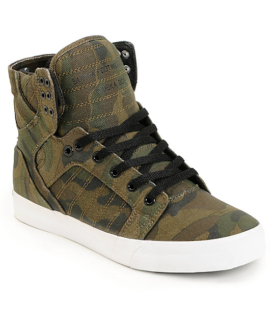 Supra Skytop Green Camo Canvas Skate Shoes