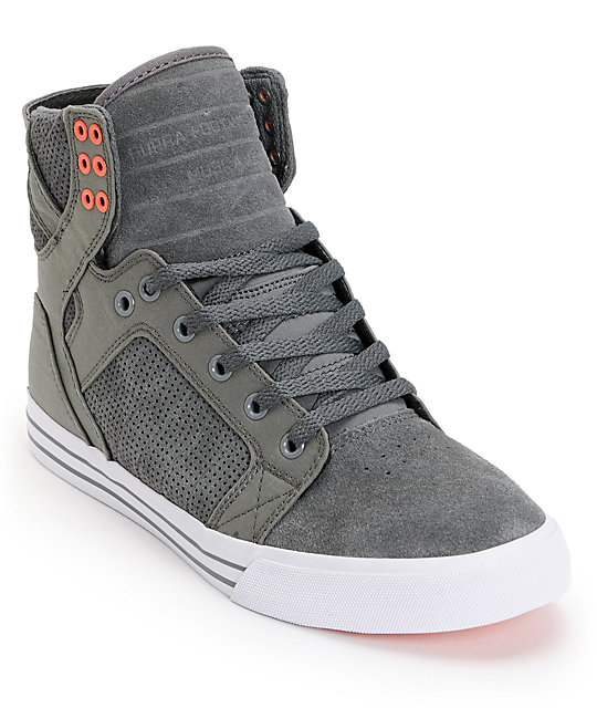 Supra Skytop Grey & Coral Perforated Suede Skate Shoes