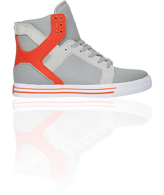 Supra Skytop Grey & Orange Leather Skate Shoes