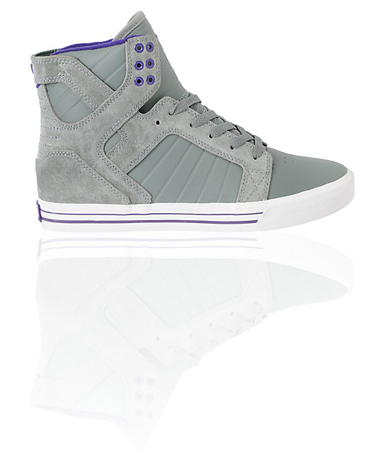 Supra Skytop Grey & Purple Leather Skate Shoes