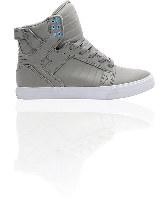 Supra Skytop Grey & White Skate Shoes