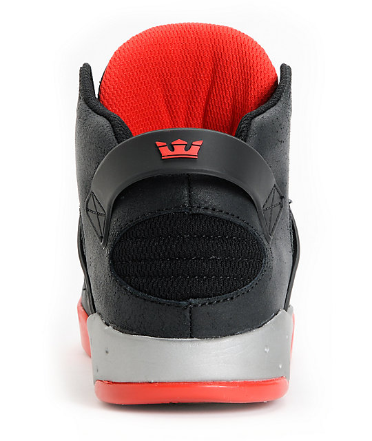 Supra Skytop III Black, Red & Grey Skate Shoes